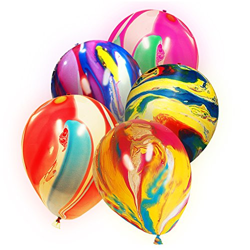Premium LED Light-Up Balloons Party Favors Decor - Push Button Activated - 2 Flashing Modes (20 Pack/Tie Dye)