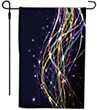 Rikki Knight Colorful Neon Ribbons Design Decorative House or Garden Full Bleed Flag, 12 by 18-Inch
