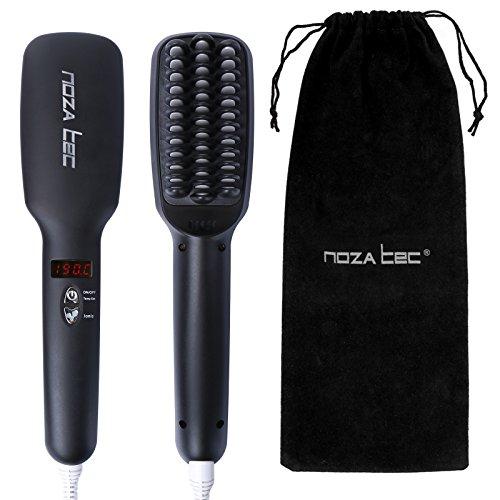 Noza Tec New 2016 Hair Straightener Brush Anion instant Magic Silky Straight Hair Styling, Anti Scald Anti Static PTC Heating Detangling Hair Black