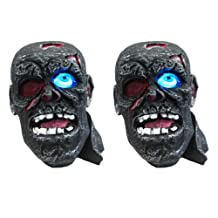 (2 Pack) Solar Powered Outdoor Zombie Pirate Head Halloween Fright Light