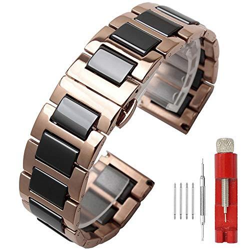 22mm Dress Watch Band Rose Gold Men Watch Metal Strap Black Ceramic Bracelet All Links Removable Watch Straps for Men Women Deployment (Black Metal Band Mens Watch)