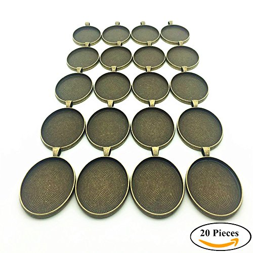 IGOGO 20 PCS Oval Pendant Trays Pendant Blanks Cameo Bezel Cabochon Settings - 30x40 mm Antique Bronze Color (Pendant Oval 30x40mm)