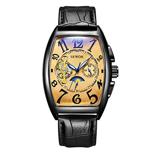 - SEWOR Mens Automatic Business Dress Tonneau Moon Phase Wrist Watch Mechanical Self Wind (Black Gold)