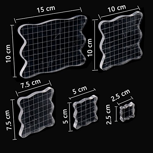 5 Pieces Stamp Blocks with Grid, Acrylic Clear Stamping Blocks Set Essential Stamping Tools for Scrapbooking Crafts Making, Aunifun by Aunifun