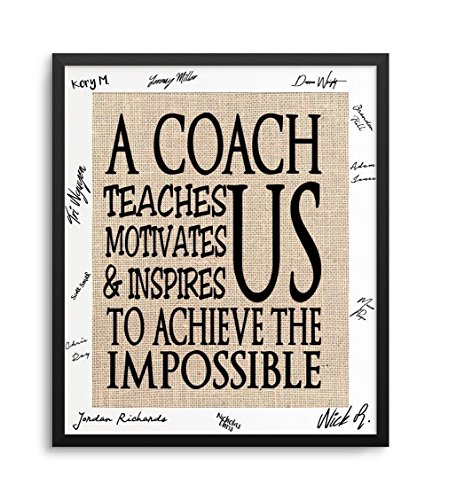 Personalized Coach Print, Optional Black Gallery Frame with Team Signature Mat, 11-Inch by 14-Inch Matted to 8 by 10-Inch, Can Add Coach & Team - Frame Coach