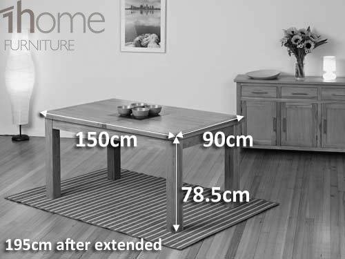table 150cm. 1home 100% solid oak extending dining table room furniture extendable 150cm to 195cm (table with 6 chairs): amazon.co.uk: kitchen \u0026 home d