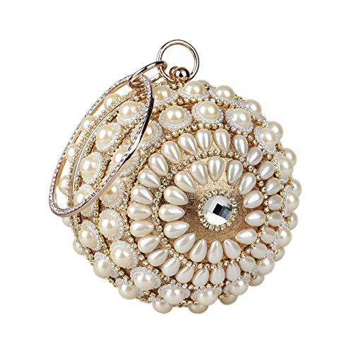 à Dames Perle Main Robe Gold Pochette Sac Main En Ballon Diamond Soirée à Sac Métal Bracelet Bague Rond HHwqZxrUR