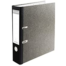 EXACOMPTA 9074B Archivador de palanca papel marmól gris lomo de 80mm PREM'TOUCH - lomo couleurs - A4. Gris-lomo negro