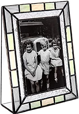 J Devlin Pic 414-46V Stained Glass Picture Frame Green Home Decor Tabletop 4 x 6 Vertical Photo