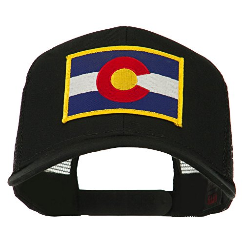 e4Hats.com Colorado Western State Embroidered Patched Mesh Back Cap - Black OSFM