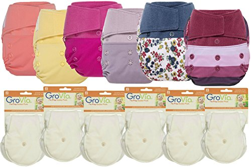 GroVia Hybrid Part Time Package: 6 Shells + 12 No Prep Soaker Pads (Color Mix 8 - Hook & Loop) by GroVia