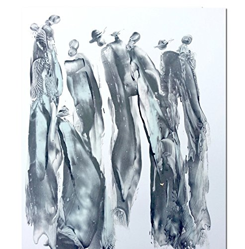 Black and White Abstract Gesture drawing with ink on Paper-1 by Red Studio Gallery