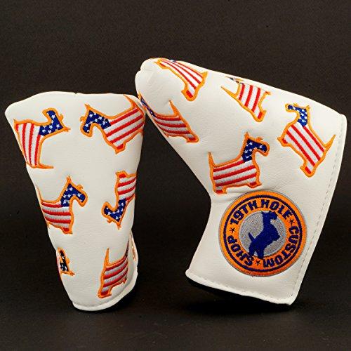 人に関する限り同様の踏みつけUS Flag Dancing Scottie Dogゴルフヘッドカバーブレードパター用、ホワイト