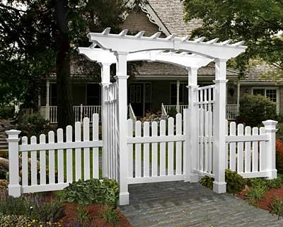 Cottage Picket Wings (New England Newport Arbor with Trim, Wings, and Gate)