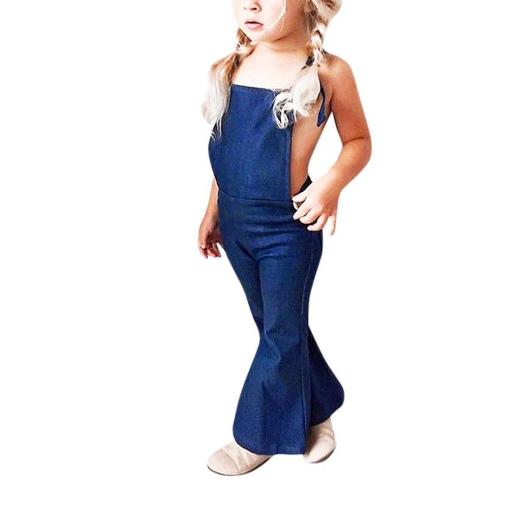 Xshuai for 1-5 Years Old Kids, Fashion Toddler Kids Baby Girl Sleeveless Backless Strap Denim Overall Romper Flares Trousers