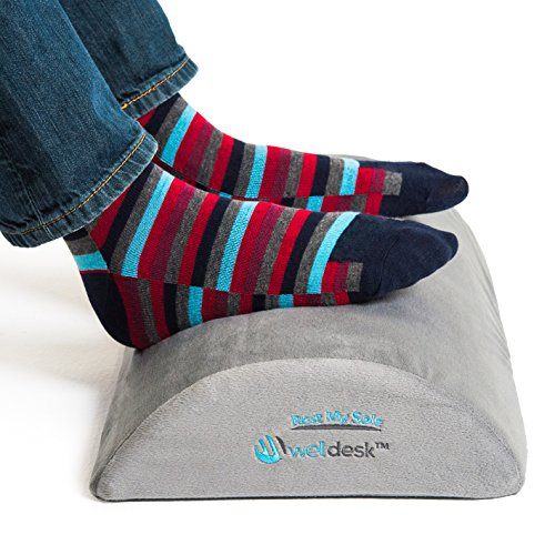 Rest My Sole - Foot Rest Cushion for Under Desk - Ergonomic Footrest Your Feet Will Love at Home or Office - Resilient Comfort Foam, Non-Slip Lower Surface and Low Profile for Optimum Leg Clearance by Well Desk
