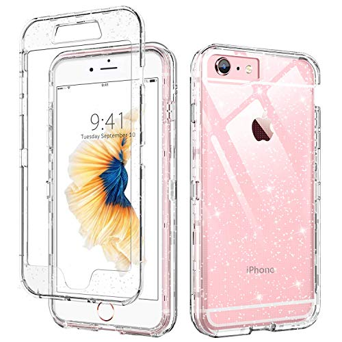 iPhone 6 Case Clear,DUEDUE iPhone 6S Case Case,3 in 1 Glitter Shockproof Drop Protection Heavy Duty Hybrid Hard PC Transparent TPU Bumper Full Body Protective Case for iPhone 6/6S,Clear/Glitter