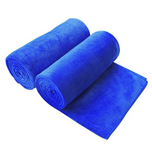 Jml Microfiber Pool/Bath Towels Bundle with Solid Colors Anti-static Ultra Absorbent Travel Sports Microfiber Towels, 2 Pack Eco-friendly Towels for Kids, Dark Blue - 30'' x 60'' (76x150cm) by Jml