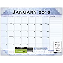 "AT-A-GLANCE Monthly Desk Pad Calendar, January 2018 - December 2018, 22"" x 17"", Slate Blue (89701)"