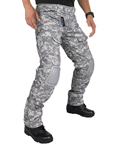 ZAPT Tactical Pants with Knee Pads Airsoft Camping Hiking Hunting BDU Ripstop Combat Pants 13 Kinds Army Camo Uniform Military Trousers (ACU, XXL40)