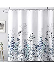 Spring Plant Floral Shower Curtain for Bathroom Bathtubs,Fitepro Watercolor Teal and Blue Shower Curtain Set Fabric Shower Curtain with 12 Hooks, 72×72 Inches