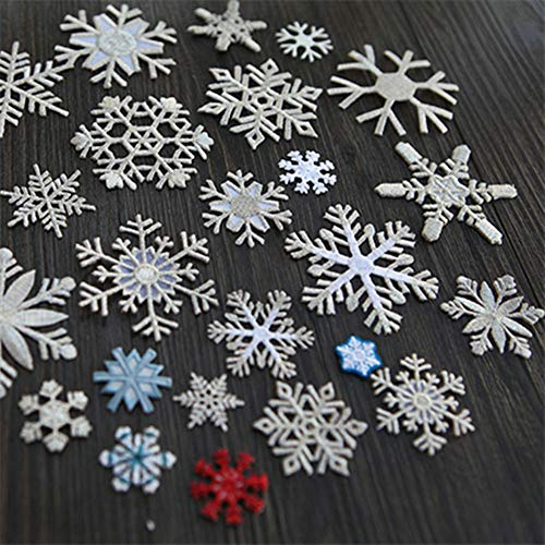 (16 Pieces/lot Christmas Snowflake Embroidery Ironning On Patches Clothing DIY Applique Golden Patch Decorative Stickers (Silve))