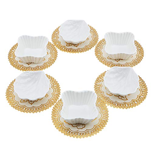 Set of 6 Small Porcelain Snack Appetizer Serving Tray, Ceramic Ramekins, Condiment Dishes, Dipping Cups, Sauce Dish Plate, Dessert and Ice Cream Bowls, White Seashell Clover with 6pcs Dish ()
