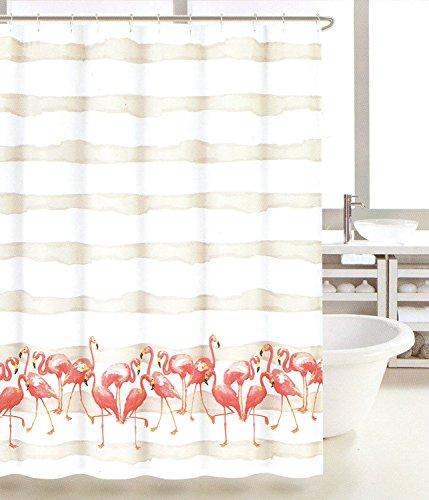 Coastal Collection Frankie Flamingo Beige Ombre Stripe Fabric Shower Curtain