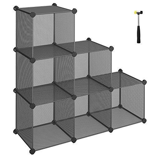 (SONGMICS 6-Cube Metal Mesh Storage Cube, Book Shelf, Modular Bookcase, DIY Closet Cabinet Organizer for Books, Plant, Toys, Shoes, Clothes 36.6 L x 12.2 W x 36.6 H Inches, Gray ULPL111G )
