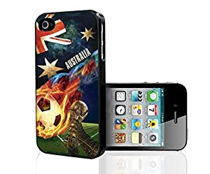 Blue, Red, and White Grunge Australia Team Flag with Colorful Fiery Soccer Ball Hard Snap on Phone Case (iPhone 4/4s)