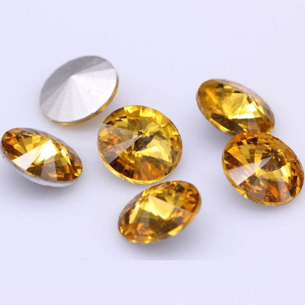 Todos los tamaños, 24 colores Rivoli, redondo, elegante, piedra, espalda en punta, cristal, diamantes de imitación, collar, pendiente, joyería, fabricación de prendas, oro, 10 mm, 20 piezas