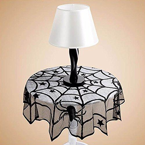 VANKER Gothic Spider Web Round Lace Table Cloth Cover Halloween Party Table -