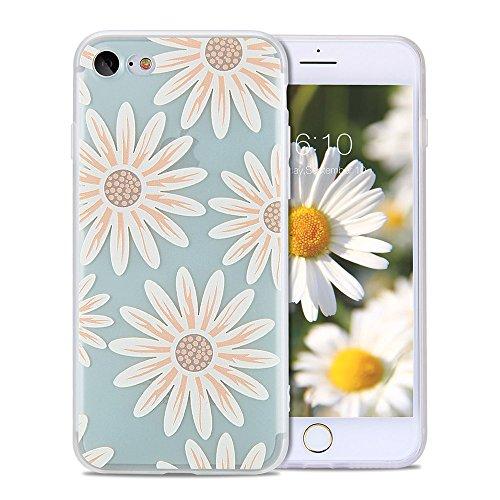 iPhone 8 Cute Case, iPhone 7 Case Cute, FGA Green Daisy Floral Flower Pattern Design Slim Fit Anti-fingerprint Scratch-proof Soft TPU Matte Translucent Case Cover for iPhone 8 (2017), iPhone -