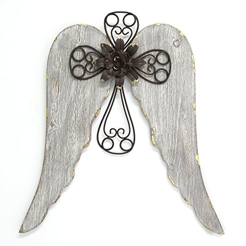 Stratton Home Décor S11568 Angel Wings with Cross Wall Décor, 18.00 W X 1.25 D X 19.00 H, Distressed White, Brown & Gold