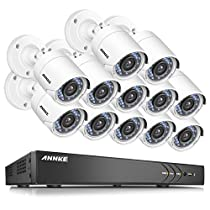 ANNKE 5 In 1 16-Channel 1080P Home Security Cameras System 12x HD 2.0 MP waterproof Night vision Indoor/Outdoor Cameras, Quick Remote Access Setup Free App-No HDD