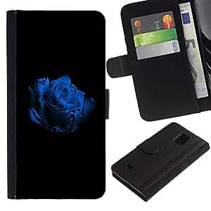 A-type (La rosa azul) Colorida Impresión Funda Cuero Monedero Caja Bolsa Cubierta Caja Piel Card Slots Para Samsung Galaxy S5 Mini (Not S5), SM-G800