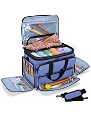 """YARWO Knitting Yarn Bag, Portable Crochet Storage Tote with Double Top Cover and Yarn Holes for Knitting Needles(Up to 14""""), Unfinished Projects and Skeins of Yarn, Blue (Bag Only)"""