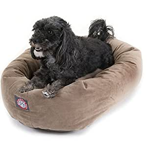 24 inch Stone Suede Bagel Dog Bed By Majestic Pet Products