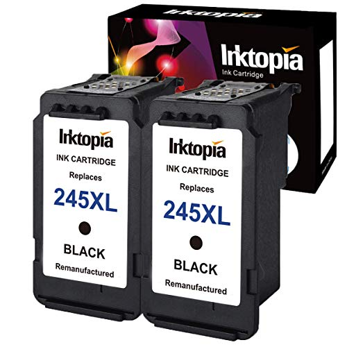 Inktopia Remanufactured for Canon PG-245XL Ink Cartridges (2 Black) Shows Accurate Ink Level Used in Canon PIXMA MG2520 MG2920 MG2922 MG2924 MG2420 MG2522 MG2525 MG3020 MG2555 MX490 MX492 Printer
