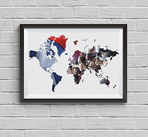 Large World Map Captain America Civil War Avengers Alternative - Large world map wall hanging
