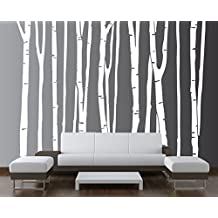 """Large Wall Birch Tree Decal Forest Kids Vinyl Sticker Removable (9 Trees) 84"""" (7 Feet) Tall - 13049"""