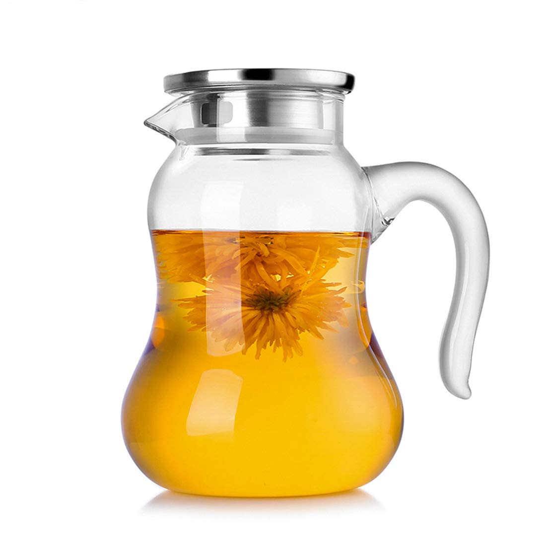 Water Pitcher 50 Oz,50 Oz Glass Pitcher with Lid,Glass Water Pitcher with Lid and Handle,Glass Juice Pitcher with Lid and Handle,50 Oz Glass Carafe