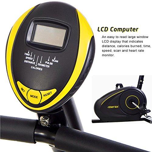 Merax RB1020 Magnetic Recumbent Bike Exercise Bike Fitness Stationary Bicycle (Black&Yellow)