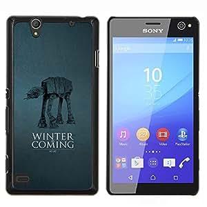 Qstar Arte & diseño plástico duro Fundas Cover Cubre Hard Case Cover para Sony Xperia C4 (Winter Is Coming A A)