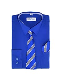 Royal Boys Fashion Solid Dress Shirt Tie and Hanky Set