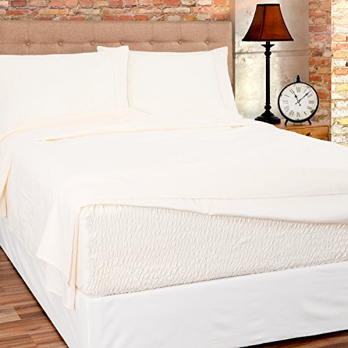 Bed Tite Stretch Fit Brushed Microfiber Soft-Woven Deep Pocket Sheet Set (Queen Size, Ivory)
