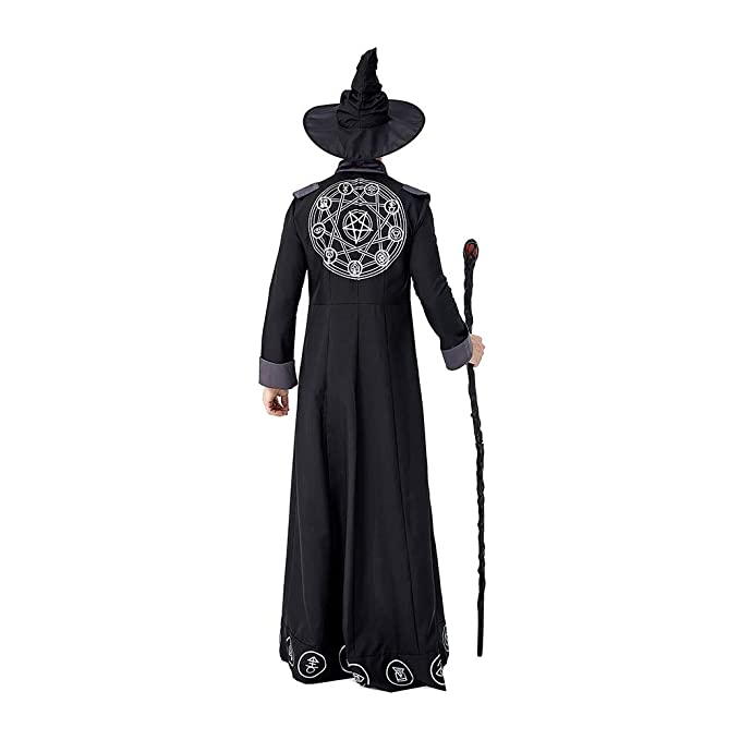 LIMIAO Disfraz de brujo de túnica de Halloween Brujo malvado ...