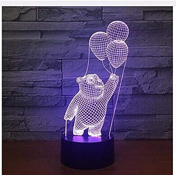 7 Cambio de color Bebé Oso Sostener Globos 3D Usb Lámpara de mesa ...