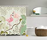 Pink and Teal Shower Curtain Ambesonne Wildlife Decor Collection, Blossom Floral Background with Pair of Flamingos Painting, Polyester Fabric Bathroom Shower Curtain Set with Hooks, 75 Inches Long, Teal Pink Beige