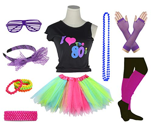 Girls I Love The 80's Disco T-Shirt for 1980s Theme Party Outfit (Rainbow02, 14-16 -